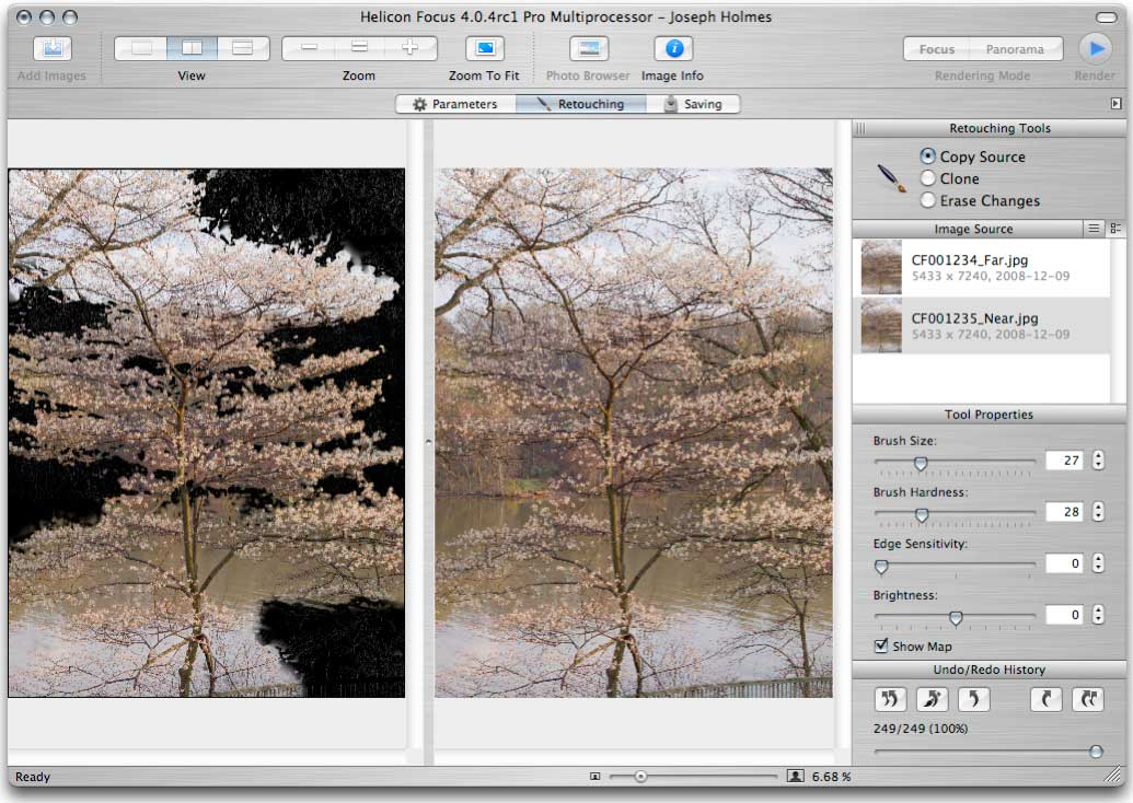 Helicon Focus 4.0.4 retouching result